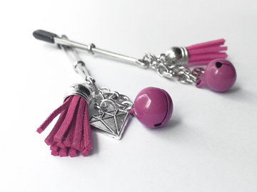 Selling with online payment: Pink nipple clamps with tassels and jingle bells.