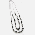 Buy Now: 25 pcs -Beaded Double Strand Black & Silver Necklace – Item #4440