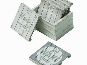 "Buy Now: Sunbelt Gifts Set Of 6 – ""No Wake Zone"" Wood Coasters – Item #440"
