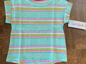 "Buy Now: Girls ""Cat & Jack"" Short Sleeve Mint Stripe Top ALL SIZE 18 MOS"