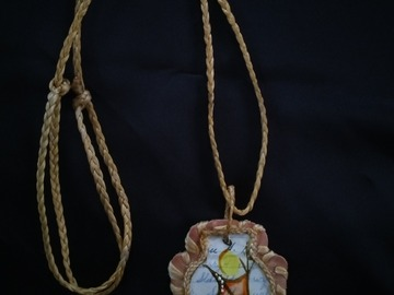 Selling: Hand made andHand painted antique ledger art necklace