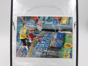 ": Original watercolor framed ""Beautiful Hong Kong"" : The Fishermen."
