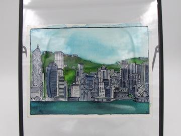 ": Original watercolor framed ""Beautiful Hong Kong"" : The Skyline"