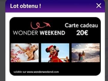 Vente: Bon de réduction Wonder week-end (20€)