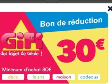 Vente: Bon de réduction Gifi (30€)