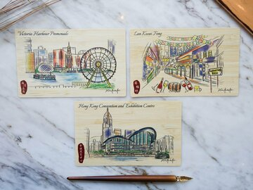 : HK Sketching 3 Bamboo Cards – Hong Kong Piers and Night Market