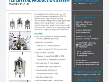 Equipment/Supply sales (w/ pricing): McGrane Lab Systems / Cascade Botanicals Isolation System