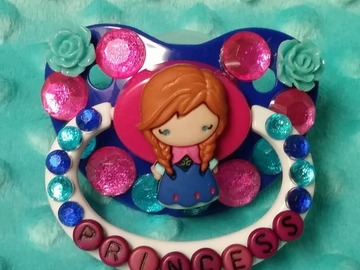Selling with online payment: Custom Decorated Princess Adult Pacifier BLUE