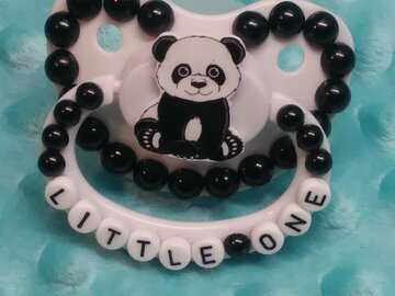 Selling with online payment: Little One Custom Decorated Panda Adult Pacifier Set