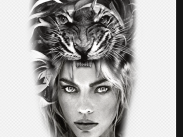 Tattoo design: Woman and tiger