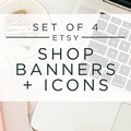 Offering online services: Set of 4 Personalized Seasonal Etsy Shop Banners & Icons