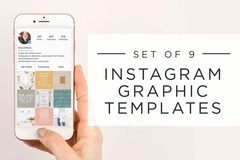 Offering online services: Set of 9 Instagram Graphic Templates
