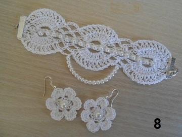 Sale retail: parure bijoux fleur au crochet, boucles d'oreilles fleur