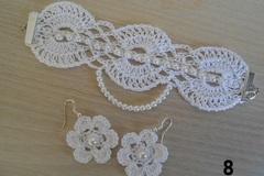 Vente au détail: parure bijoux fleur au crochet, boucles d'oreilles fleur