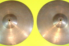 "Selling with online payment: 1950s ZILDJIAN 12"" Factory pair paper thin hi-hats Hear on  video"