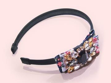 : Crystal-embellished Floral-print Bow-appliquèd Satin Headband