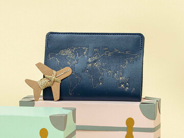 : Navy Stitch Where You've Been Passport Cover