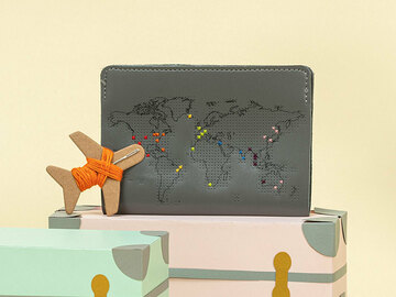 : Grey Stitch Where You've Been Passport Cover