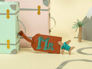 : Brown Stitch Your Own Design - Luggage Tag