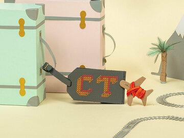 : Grey Stitch Your Own Design - Luggage Tag
