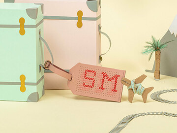 : Pink Stitch Your Own Design - Luggage Tag