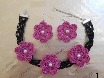 Sale retail: choker noir fleur en dentelle au crochet, boucles d'oreilles