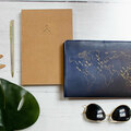 : 'Stitch & write your travels' leather-bound notebook with pen