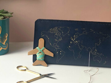 : Navy Leather Stitch Where You've Been Travel Wallet