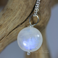 Selling with online payment: Dainty Natural Rainbow Moonstone Pendant on Sterling Silver Chain