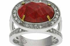 Selling with online payment: Sterling Silver Coral & White Topaz Halo Ring-Size 9