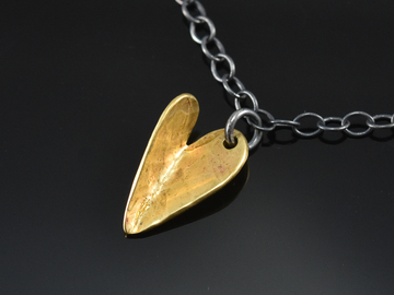 "Selling with online payment: Brass  Folded ""Bent"" Heart Charm Necklace"