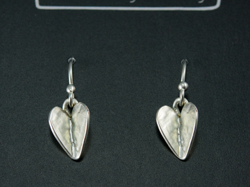 "Selling with online payment: Silver Folded ""Bent"" Heart Dangle Earrings"