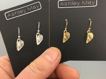 "Selling with online payment: Gold Heart Dangle Earrings ""Folded"" Bent Hearts"
