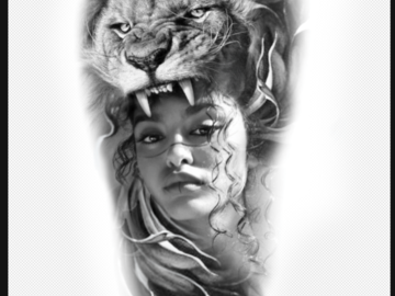 Tattoo design: Woman and lion
