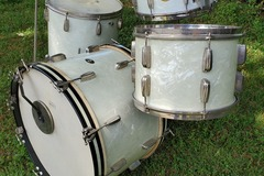 SOLD!: SOLD! 1954-55 Slingerland Radio King drum set, white marine pearl