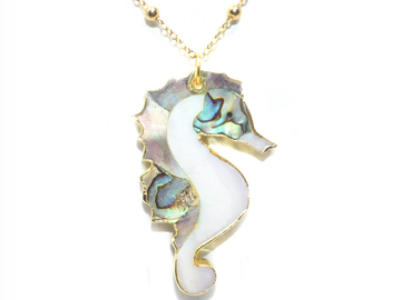 Selling with online payment: Inner Peace Mother of Pearl and Abalone Seahorse Necklace