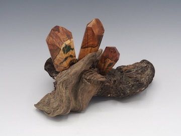 Selling with online payment: Magnetic Mineral Sculpture: Quartz - Maple Burl & Gemstone
