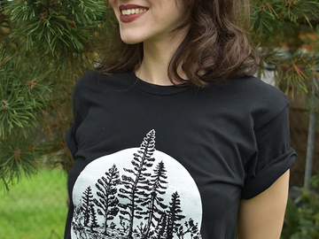Selling with online payment: PNW Trees Black Unisex Tee