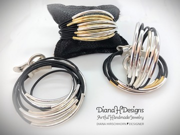 Selling with online payment: Handmade Leather Double-Wrap Bracelet with Magnetic Clasp