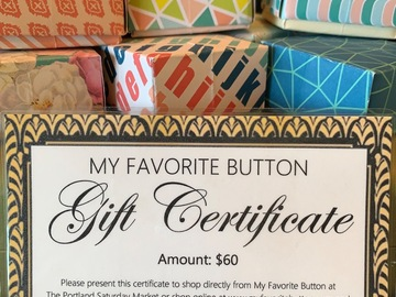 Selling with online payment: $60 Gift Certificate