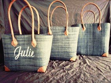 Sale retail: Sac cabas de plage et de course en paille, cadeau personnalisé