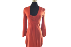 For Sale: KAREN MILLEN: Knitted Winter Dress | Orange-Rust | Size 3
