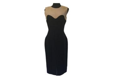 For Rent: ALEXANDER MCQUEEN: Black & Beige Sheath dress| EU42