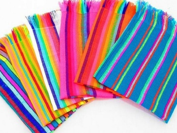 """Selling with online payment:  6 Mexican Woven Cloth Napkins, 14""""x 20"""" Assorted Colors"""