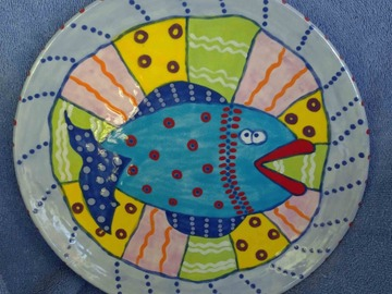 Selling with online payment: Hand Made Ceramic Blue Fish Plate