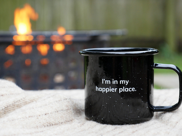"Selling with online payment: ""In My Happier Place"" Enamel Metal Mug"