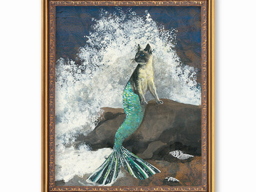 Selling with online payment: Mermaid Cat Art Print - Florida Wall Art by Gianna Pergamo