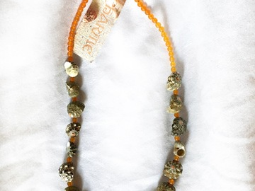 Selling with online payment: Green Shell Necklace With Orange Jade Beads Boho Beachy Mermaid