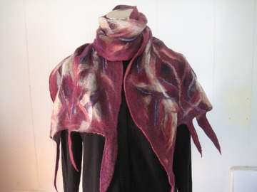 Selling with online payment: NUNO Felting scarf ( wine)