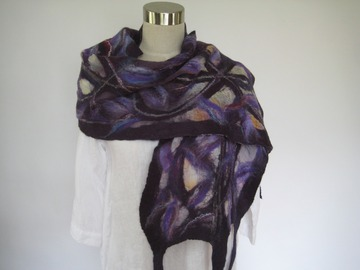 Selling with online payment: NUNO Felting scarf (purple)